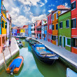 Venice, Burano island canal — Stock Photo