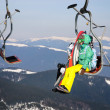 Stock Photo: Skiers on a ski-lift