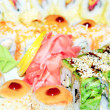 Appetizing tasty Japan rolls and sushi assortment — Stock Photo