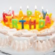 Appetizing birthday cake with the light rainbow letter candles w — Stock Photo #22462071