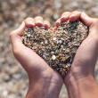 Hands holding a sand in form of the heart — Photo