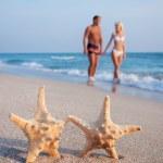 Loving couple walking on the sea sand beach against starfishs an — Stock Photo #22462873