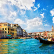 Venice Grand canal with gondolas and Rialto Bridge, Italy — Stock Photo #22462893