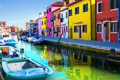 Venice, Burano island canal — Stock Photo