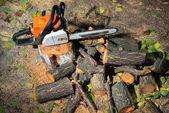 Převedené dřeva a benzín poháněl viděl na zemi — Stock fotografie