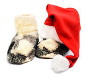 Red santa hat and warm woolen boots - christmas or new year's c — Foto de Stock