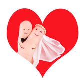 Wedding couple in red heart, newlyweds concept — Stock Photo