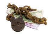 Dinheiro algemado sob sete chaves — Foto Stock