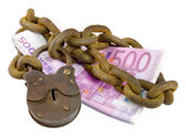 Money security concept - euro pile under lock and key — Stock Photo