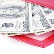 Stock Photo: Red leather wallet with money isolated on white