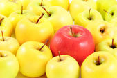 Red apple between yellow apples as different concept — Stock Photo