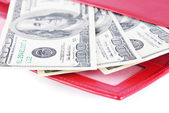 Red leather wallet with money isolated on white — Stock Photo