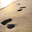 Beach, wave and footsteps at sunset time — Stock Photo