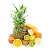 Trotical fruits still life isolated on white background — Stock Photo