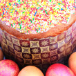 Stock Photo: Easter cake with sugar glaze and painted eggs