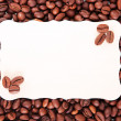 Coffee beans and the paper sheet for notes — Foto de Stock