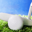 Golf ball and club on green field grass against blue sky — Stock Photo #25796501