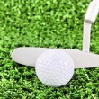 Golf ball and club on green grass — Stock Photo
