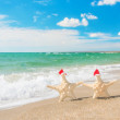 Sea-stars couple in santa hats walking at sea beach. New Years d — Stock Photo