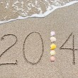 Inscription 2014 on sea sand beach with seashells — Stock Photo