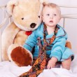 Child with toy bear — Stock Photo