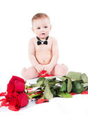 Cute infant in bow tie with red roses and petals — ストック写真