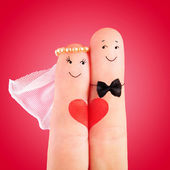 Newlyweds with heart — Stock Photo