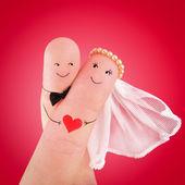 Les nouveaux mariés peints à doigts — Photo