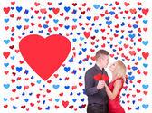 Loving couple in many heart shapes — Stok fotoğraf