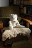 Teddy bear on armchair — Foto Stock