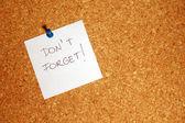 Reminder message on paper — Zdjęcie stockowe