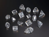 Visualization of various diamond — Stock Photo