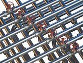 Interlocking pipes with valves — Stock Photo