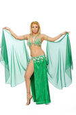 Beautiful blonde in the active Arab Dance — Stock Photo