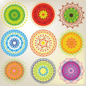 Set of 9 colored mandalas — Stock Vector