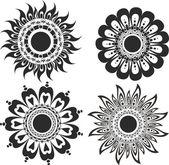A set of flower tattoos — Stock Vector