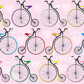 Texture with old bikes and hearts — Stock Vector