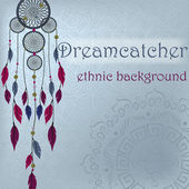 Dreamcatcher on ethnic background with mandala — ストックベクタ