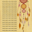 Ethnic background with dreamcatcher and text — Vecteur #25457555