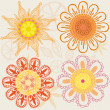 Set of funny colored flowers — Stock Vector #29224493