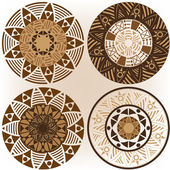 A set of mandalas in coffee colors — Stock Vector