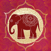 Indian elephant with mandalas — Stock Vector