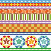 Un conjunto de patrones geométricos coloreados — Vector de stock