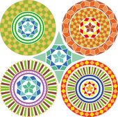 A set of geometric patterns, mandalas — Stock Vector