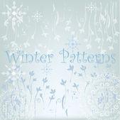 Winter patterns, snowflakes and mandalas — Vecteur
