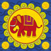 Indian elephant with the mandala and sign Om — ストックベクタ
