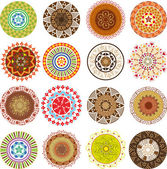 Big set of colored mandalas — Vector de stock