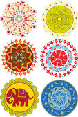 Set of colored Indian mandalas and patterns — Stock Vector