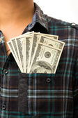 Dollar in his front pocket. — Stock Photo