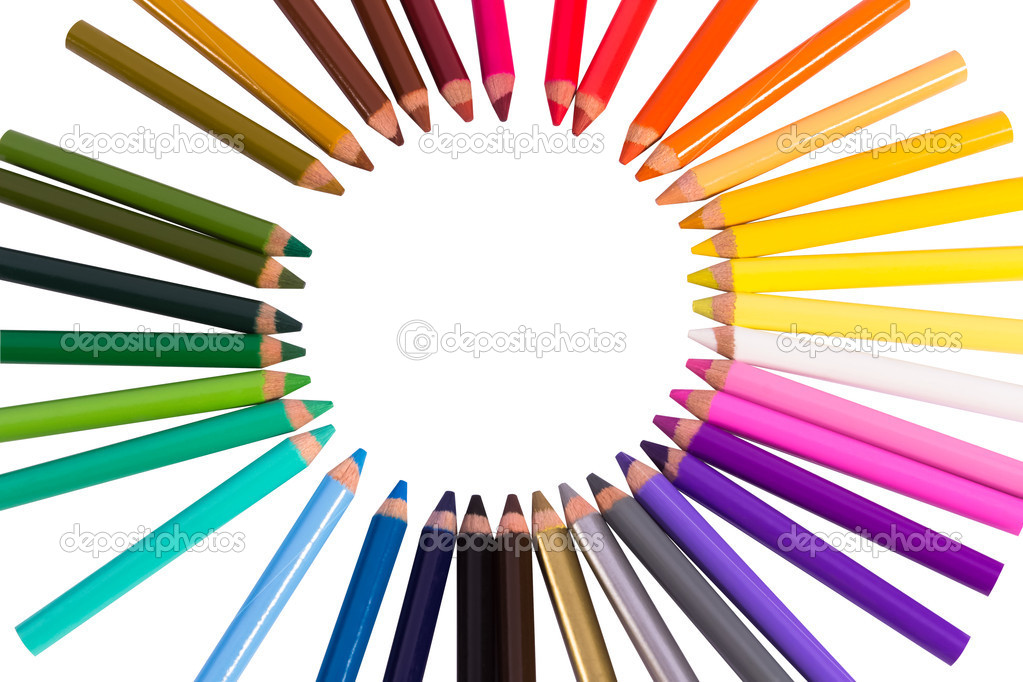 Close up of Colouring crayon pencils  on black background with clipping path — Stock Photo #12097202